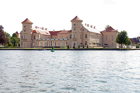 Rheinsberg castle and park at lake Grienerick